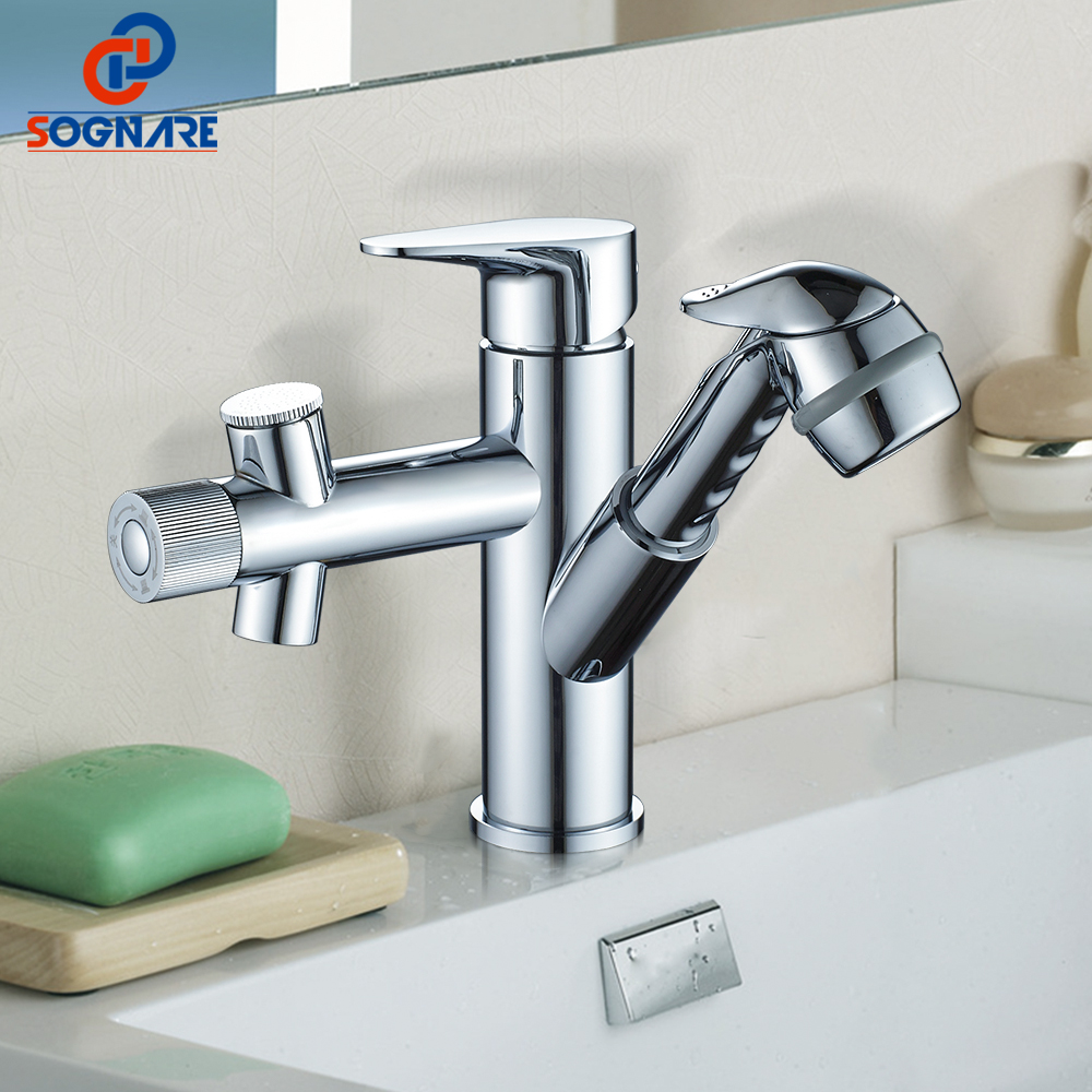 SOGNARE Copper Bathroom Faucet Waterfall Pull Out Water Tap Wash Face Basin Mixer Taps Cold and Hot Chrome Toilet Faucet D1339 flg free shipping pull out spray gold kitchen faucet hot and cold vegetables basin rotating taps all copper water mixer c003g