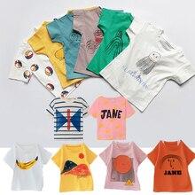 Детские футболки Одежда для мальчиков летняя хлопковая свободная футболка с героями мультфильмов для девочек Повседневная футболка детская одежда От 1 до 8 лет