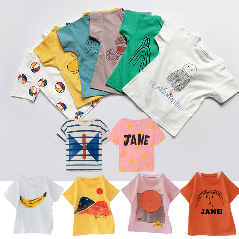 Kids T-shirts Boys Clothes Bobo Series Summer Cartoon Girls Cotton Loose T Shirt Casual Tops Tees T-shirt Children Clothing 1-8Y