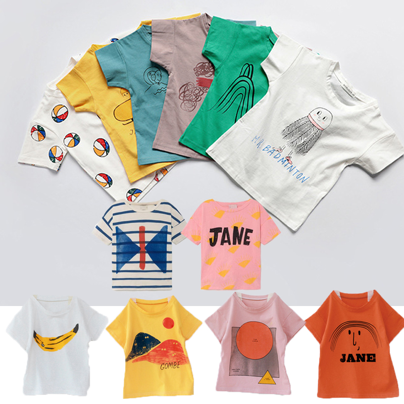 Kids T-shirts Boys Clothes Bobo Series Summer Cartoon Girls Cotton Loose T Shirt Casual Tops Tees T-shirt Children Clothing 1-8Y