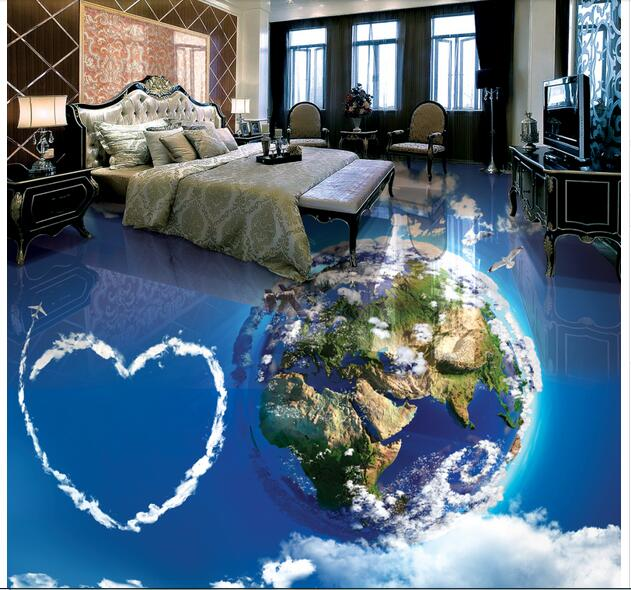 3d pvc flooring custom mural waterproof  floor sky white clouds on earth painting picture photo 3d wall room murals wallpaper