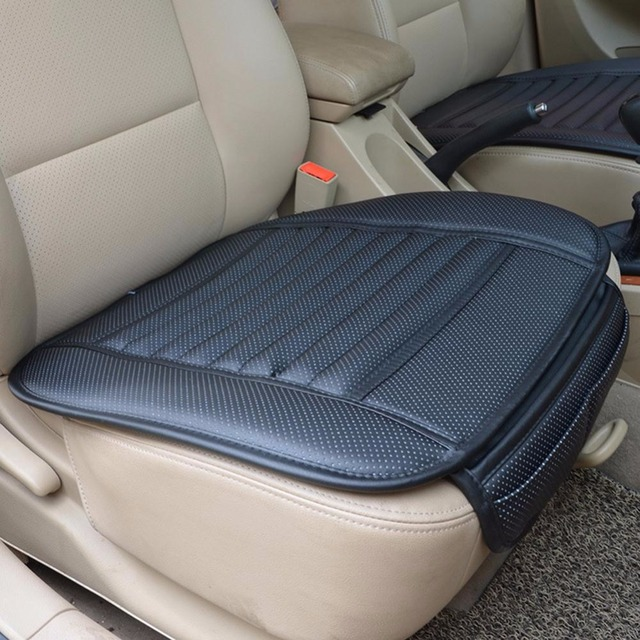 Universal Bamboo Charcoal Leather Interior Front Seat Cushion Four Seasons Breathable Therapy Padded Auto Car Seat Cover Pads