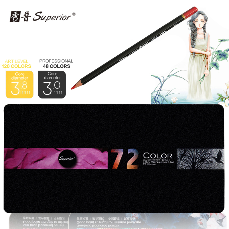 Superior 72 color Pencil High Quality Watercolor Drawing pencil set Non-toxic color pencil set lapices de For Art School Student cute lovely color pencil drawing tutorial art book