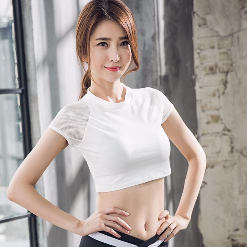 Women's Gym White Yoga Tops Yoga Shirts Short Sleeve