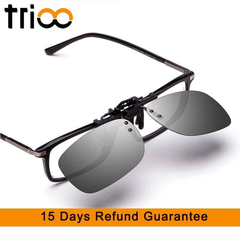 TRIOO Rijden Zonnebril Clip Heren Flip-up Lens Voor Brillen Frame Geel Nacht Driver Bril UV400 Anti-Glare Shades Heren