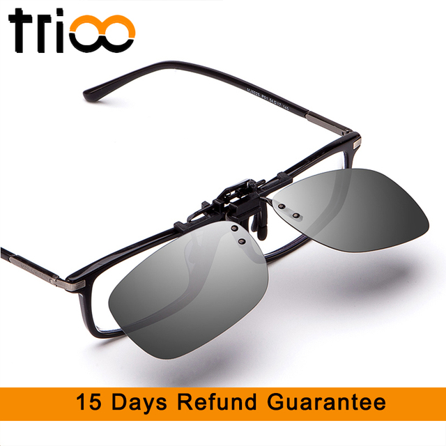 7ee58f0ea61 TRIOO Driving Sunglasses Clip Men Flip Up Lens For Eyeglasses Frame Yellow Night  Driver Glasses UV400