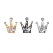 Fashion Exquisite Rhinestone Crown Brooch Jewelry Gold And Silver Black Tri-Color Crystal Men Women Temperament