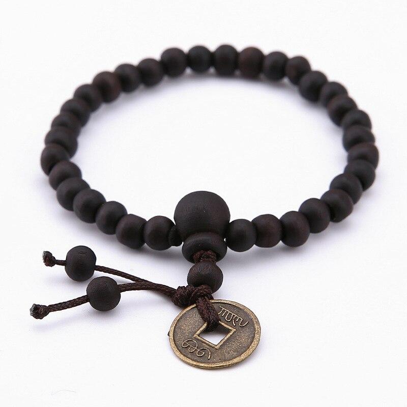 FleißIg Minimalistischen Holz Perlen Elastische Armband Charms Antike Münze Zubehör Braclet Für Männer Frauen Buddhismus Stand Schmuck Hohe Belastbarkeit Schmuck & Zubehör