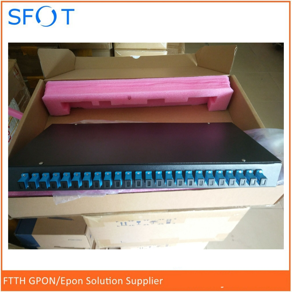 24 port patch panel, Fiber terminal box full loaded with SC/UPC adapters and pigtails, Rack type 19inch