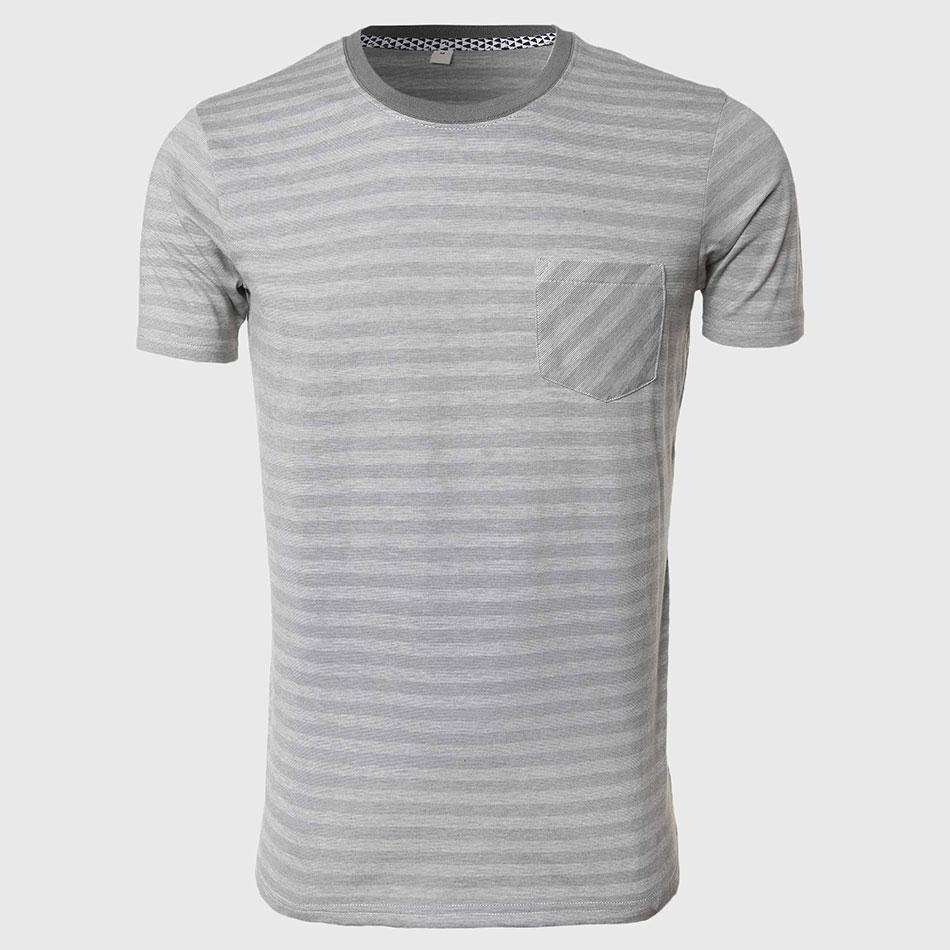 c5da95fb4d Men Block Stripe T Shirts Grey White Fine Striped Tee Shirts Designer O  Neck Tops Short