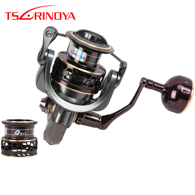 цена на TSURINOYA Jaguar 3000 4000 5000 Double Spool 9+1BB Spinning Reel Fishing Lure Reel Saltwater Fishing Reel