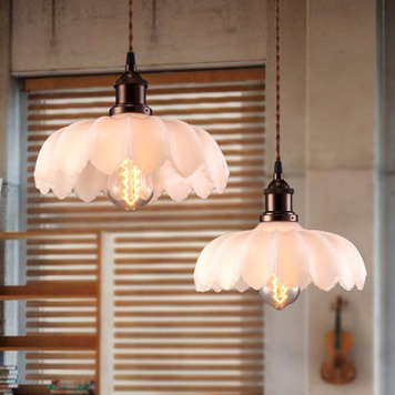 American Retro Droplights White Lotus Flower Vintage Pendant Lights Fixture Dining Room Bed Restaurant Hanging Lamp In From