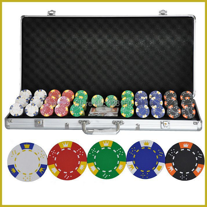 PK-5001  750pcs chips with case,  Clay 14g Poker Chips insert metal, five  colors 50 clay composite striped dice 11 5 gram poker chips by brybelly