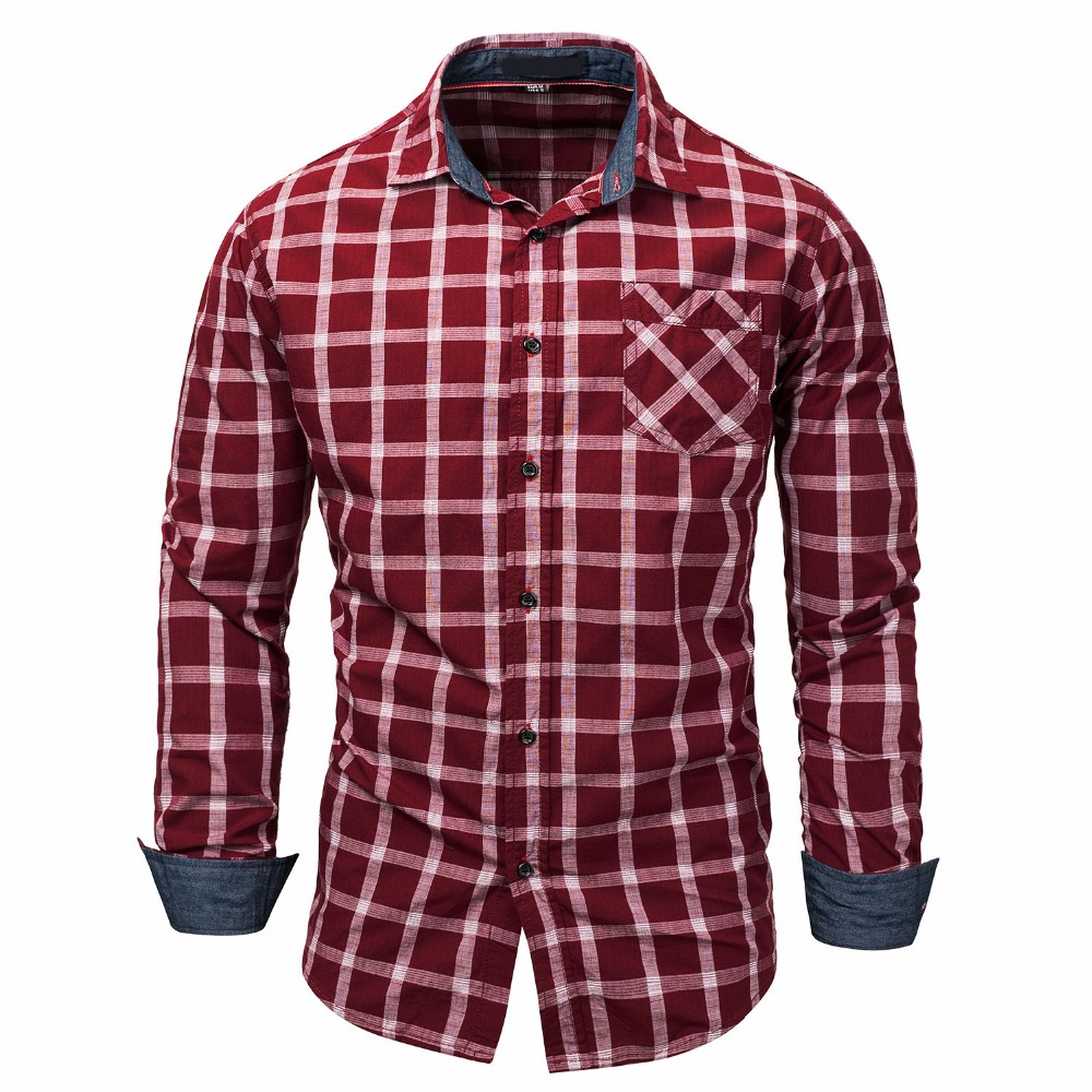 High Quality Men Shirts 2018 Plaid Long Sleeve Summer Casual Slim Fit Mens Track Suit Plus Size Shirt Blouse Top Streetwear
