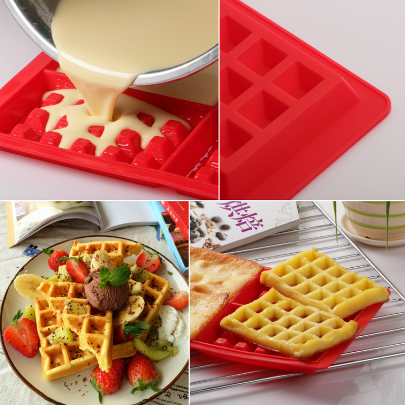 Silicone Waffle Mold 4-Cavity Waffles Cake Chocolate Pan cake for decoration Fondant Silicone Molds Cooking Mold