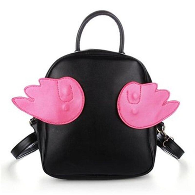 Mini Kawaii Pu Backpack Women Backpack with Wings Backpack Girls Schoolbag Book Bag Mochila Feminina School Bags for Teenagers