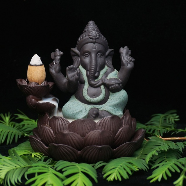 Lord Ganesha- Ceramic backflow incense burner god  incense base home decor ganesha purple sand sandalwood figurines