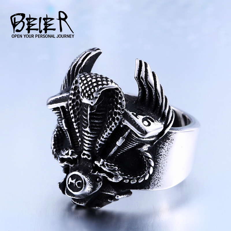 BEIER official store BEIER New Motorcycle Club Biker Ring Double Snake Engine Ring For Man Stainless Steel Biker Man's Animal Ring BR8-312