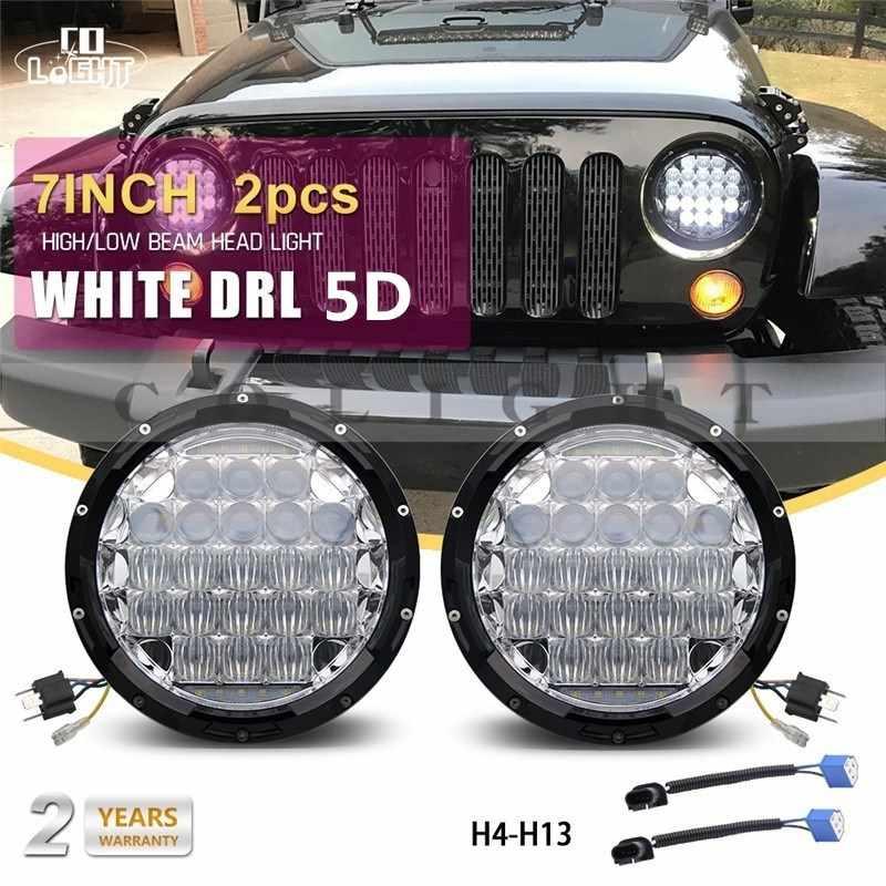 Luz CO 1 par 7 pulgadas faros 70 W 35 W Ojos de Ángel 12 V 24 V Auto Off Road luces para Lada Niva Uaz 452 Jeep 469 Hummer
