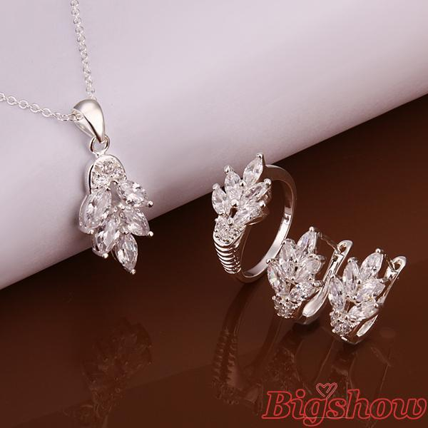 silver plated jewelry set necklace earrings ring size 8 with Austrian Crystals high quality Nickle free pave Cubic Zircon Stone