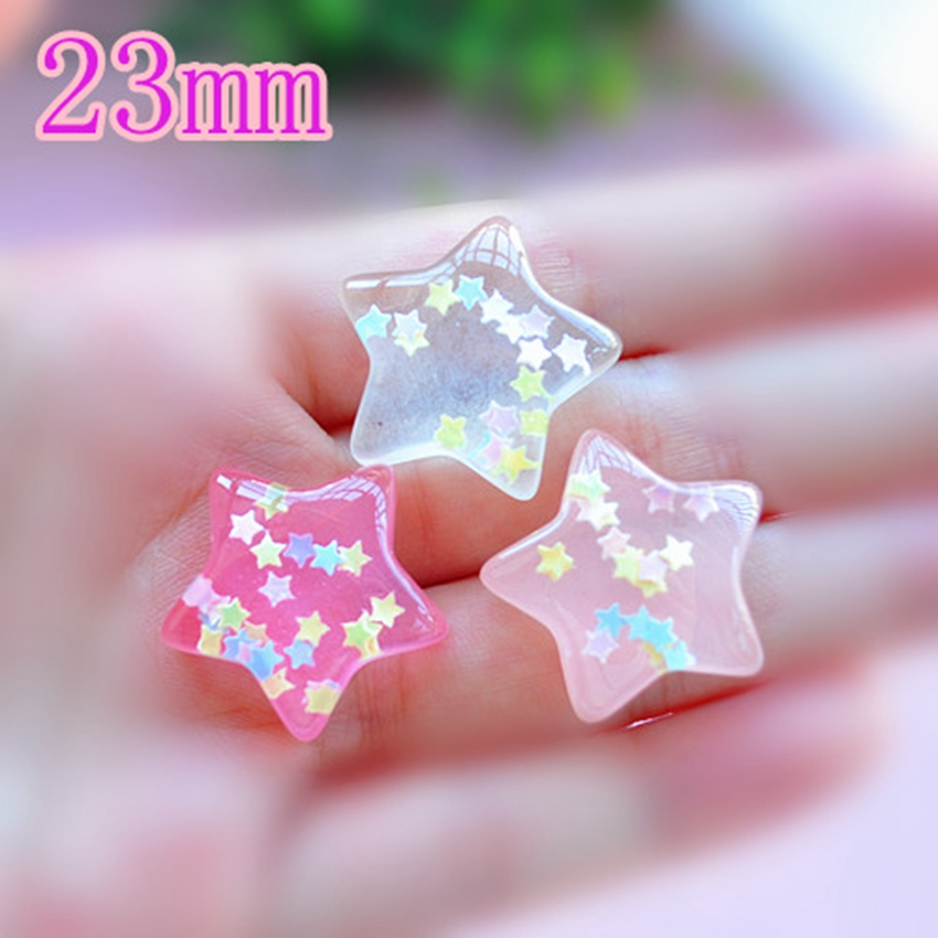 Resin Crafts For Diy Decoration 15pcs Mixed Hot And Lovely Flat Back Resin Cabochons Glitter Star With Pastel Confetti