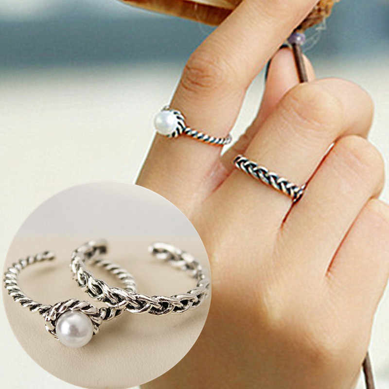 R069 2pcs/set Vintage Finger Rings Sets Simulated Pearls Jewelry Anel Anillos Braid Antique Statement Open Ends Ring Carved HOT