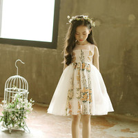 DFXD Korean Children Clothes Girls Dresses 2018 Summer Top Quality White Sleeveless Flower Embroidery Lace Princess
