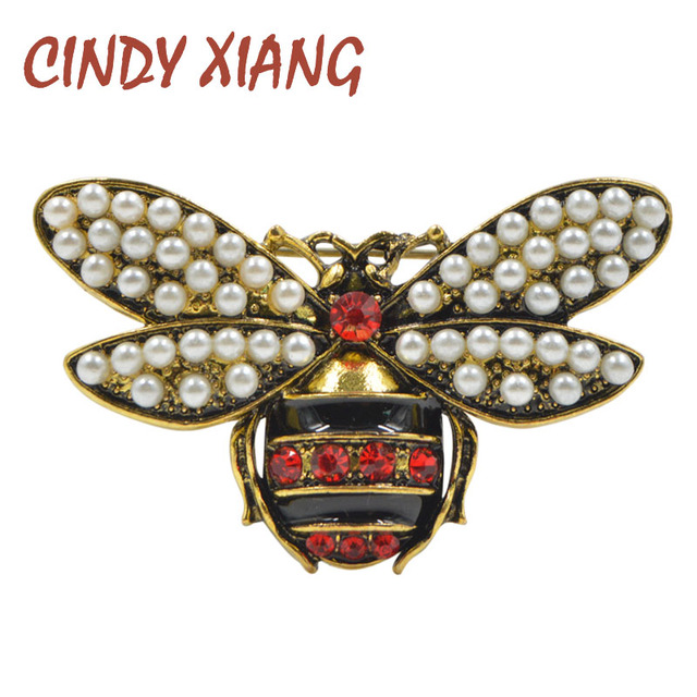 CINDY XIANG 2 Colors Choose Rhinestone and Pearl Bee Brooches for Women Vintage