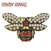 Cindy xiang 2 cores escolher strass e pérola abelha broches para as mulheres do vintage jóias moda inseto broche pino de alta qualidade