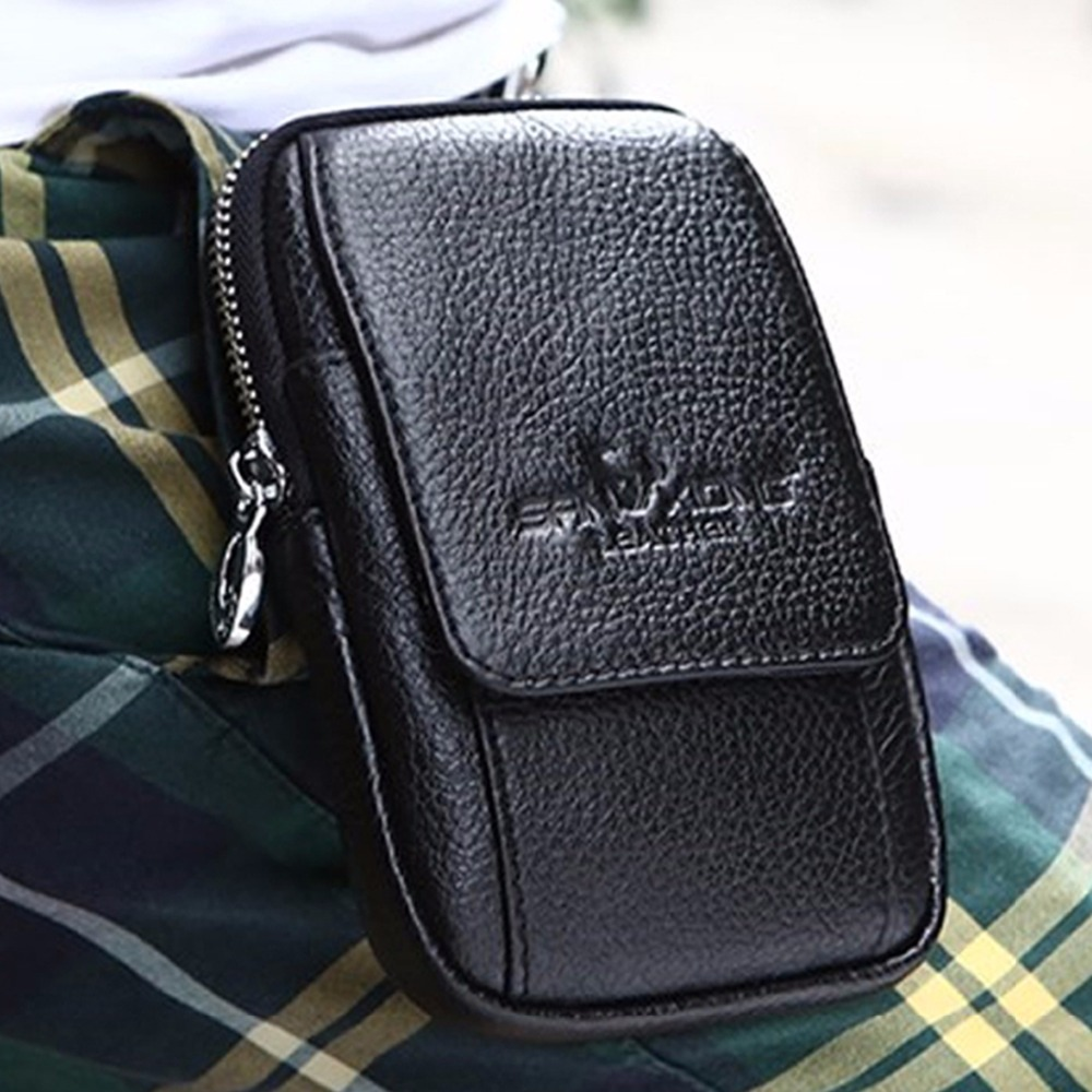 Fashion Men Genuine Leather Real Cowhide Wallet Hook Cell/Mobile Phone Case Bag Bum Hip Belt Waist Pack Bag Coin Purse Pouch hot sale men canvas waist packs army green solid phone bag hip belt portable man wallet purse case pouch waist bags 2017