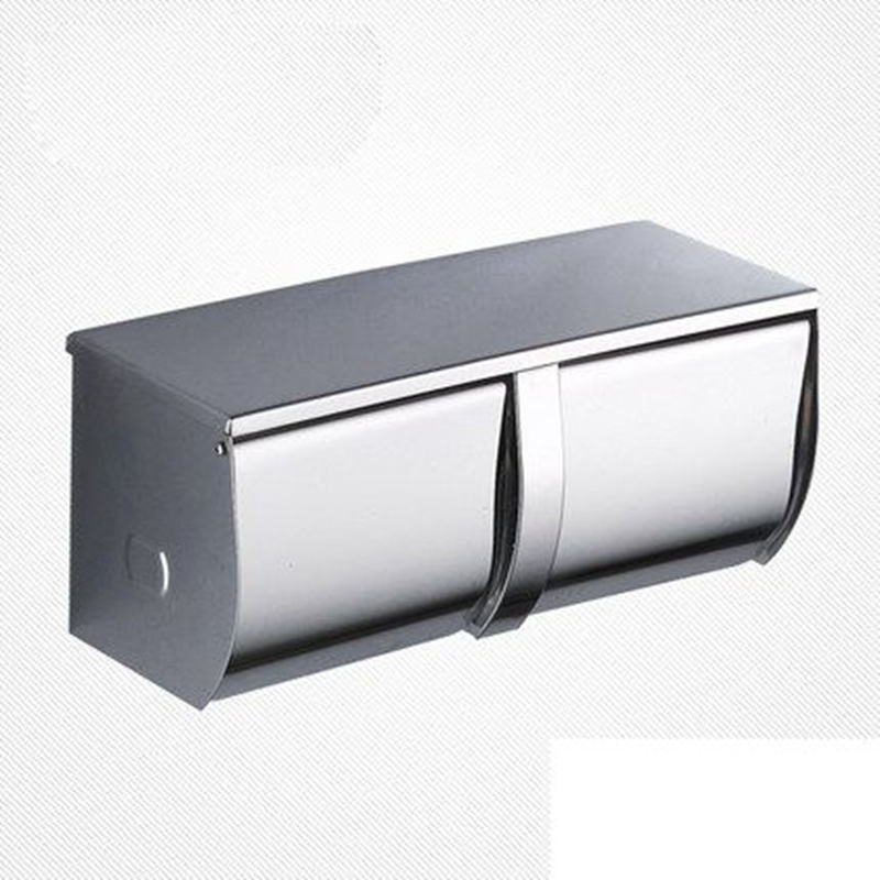 Xogolo Stainless Steel Silver White Double Layer Waterproof Modern Wall Mounted Bathroom Toilet Paper Towel Holder Roll Holder  недорого
