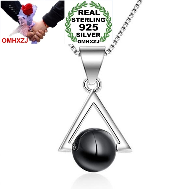 OMHXZJ Wholesale Fashion Simple Woman Girl Gift Triangle Black Agate 925 Sterling Silver Pendant Charms PE152 NO Chain Necklace