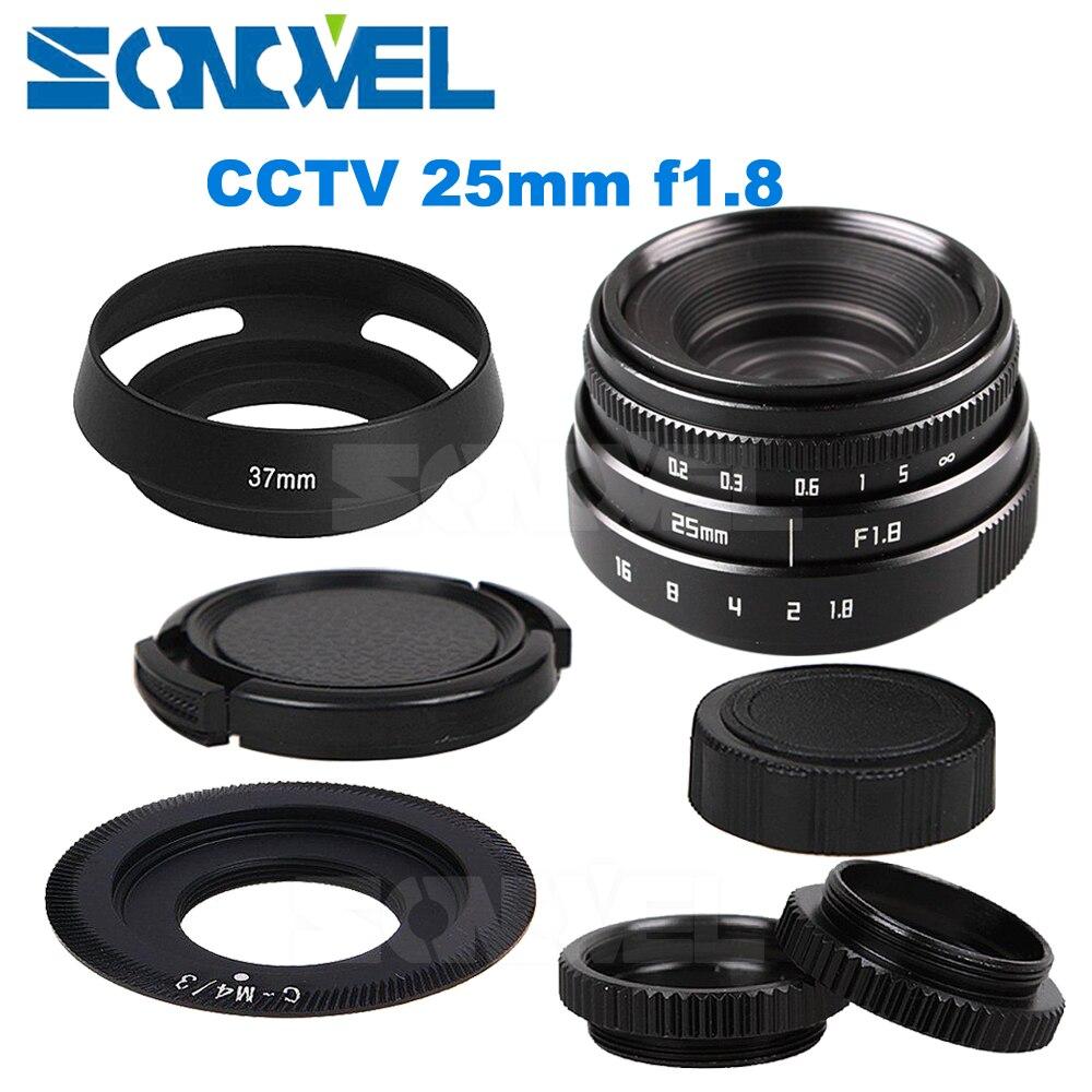 25mm F1.8 APS C CCTV Lens C Mount+Hood For Olympus Panasonic Micro 4/3 M4/3 G7 G10 GH3 GH2 GH1 GX1 GF6 GF3 EPL5 EPM1 OM D EM10