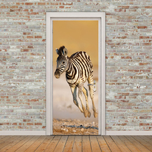 77x200cm Creative Animal zebra Door Stickers Painting Wallpaper Poster Wall Sticker  Bedroom Living Room Home Decoration