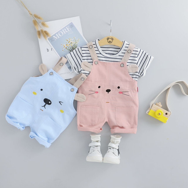 HYLKIDHUOSE 2019 Summer Baby Girls Clothing Sets Infant Clothes Suits Stripe T Shirt Strap Shorts Kids Children Vacation Costume 1