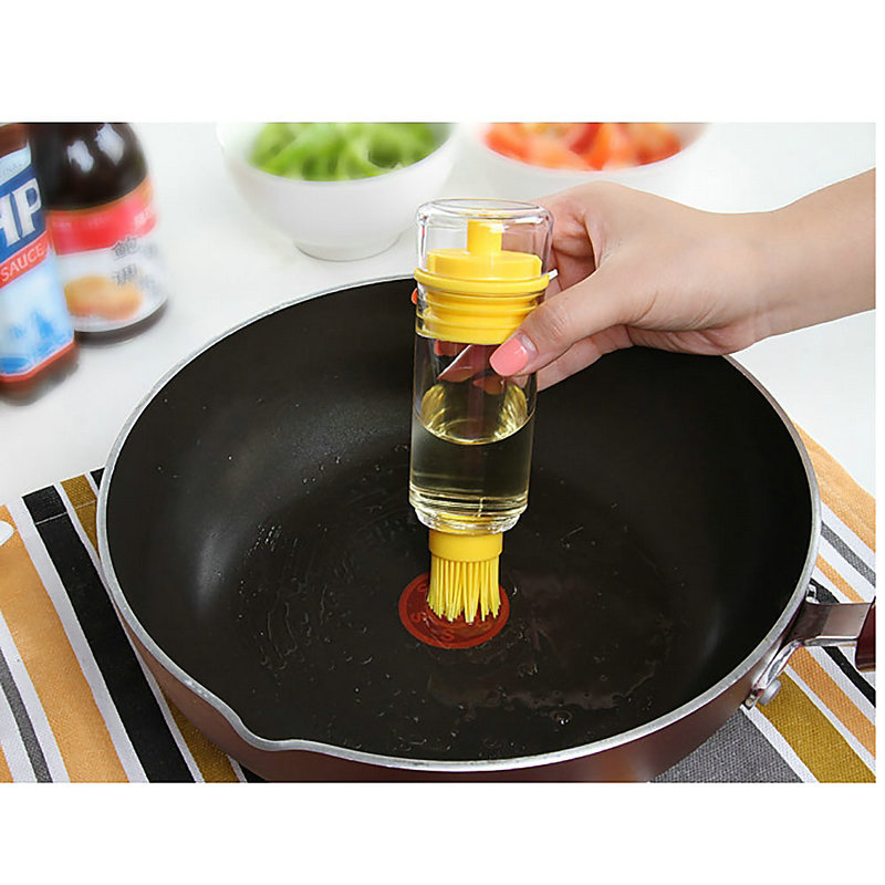 1Pc Sauce Honey Oil Wine Vinegar Liquid Bottle With Brush Baking BBQ Kitchen Gadget
