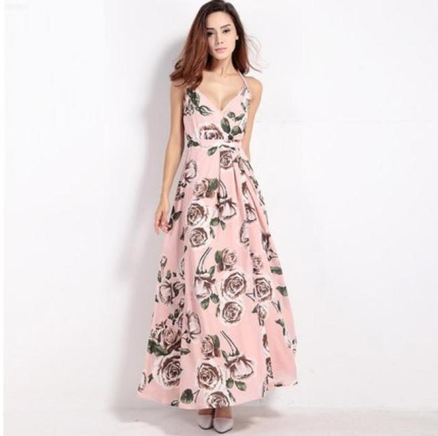 5812917088 Women Lady Retro Flower Patterned Dress Sexy Deep V Neck Strap Halter Slit  Summer