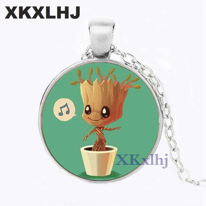 XKXLHJ Newest Guardians of the Galaxy Movies Jewelry Groot Baby Anime Photo Crystal Glass Cabochon Necklace Women Men Souvenirs