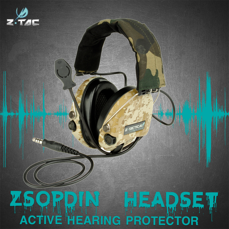 Z-Tactical Hunting Headset With New Military Standard Plug  Hunting Z111  Anti-noise Reduction Headphones For Walkie Talkie