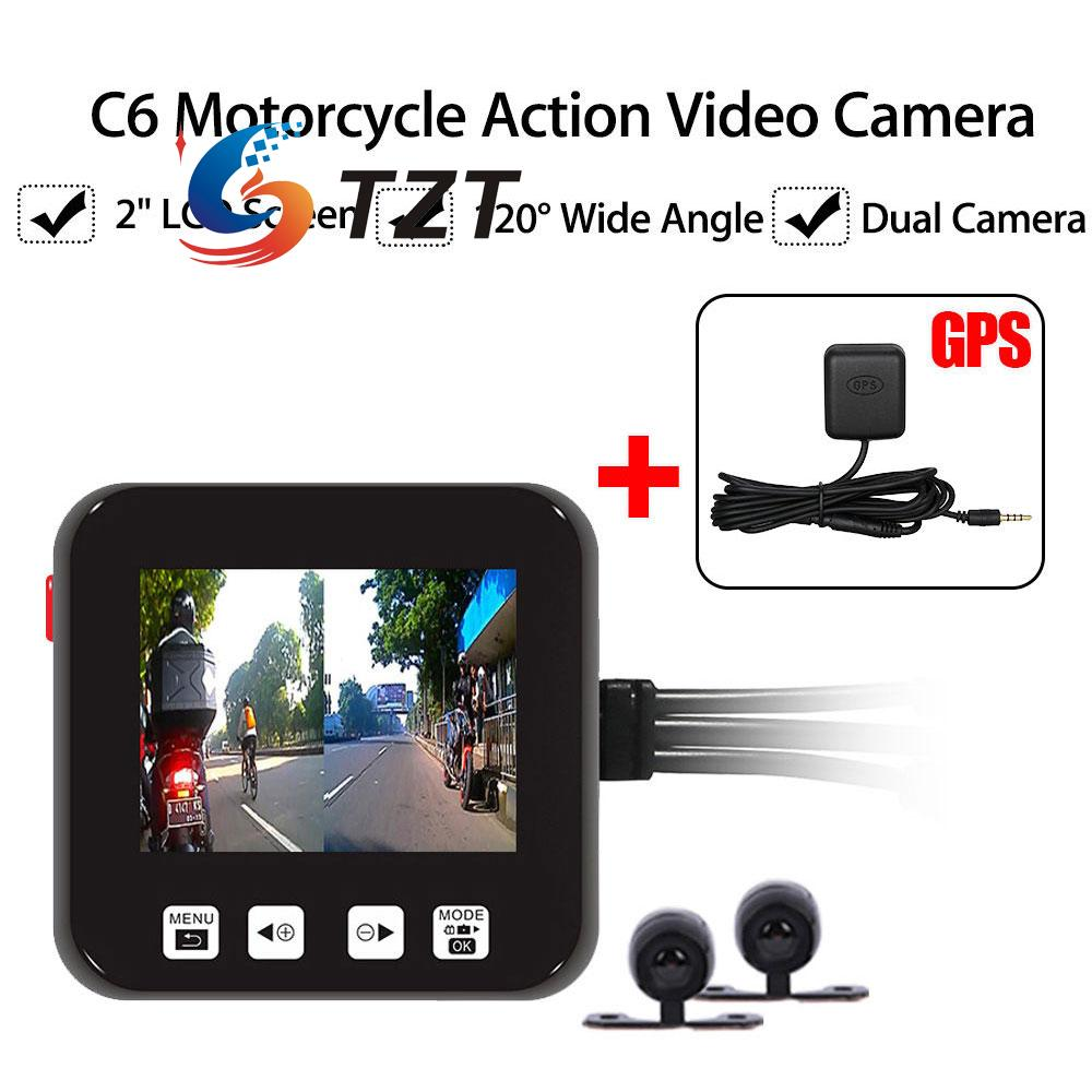 Motorcycle Cam Motorbike Dual HD Dash Cam Video Wide Angle DVR Camcorder+GPS