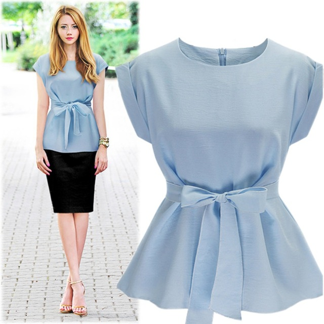 bec958e208e Fashion Formal Shirts Navy Blue Cotton Bowtie Cap Sleeve women blouse and  tops office Ladies Blouse Ruched O-neck Tops