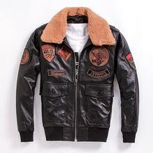 HARLEY DAMSON Black Men Pilot Leather Jacket Wool Collar Europe Size XXXL Genuine Sheepskin Russian Military