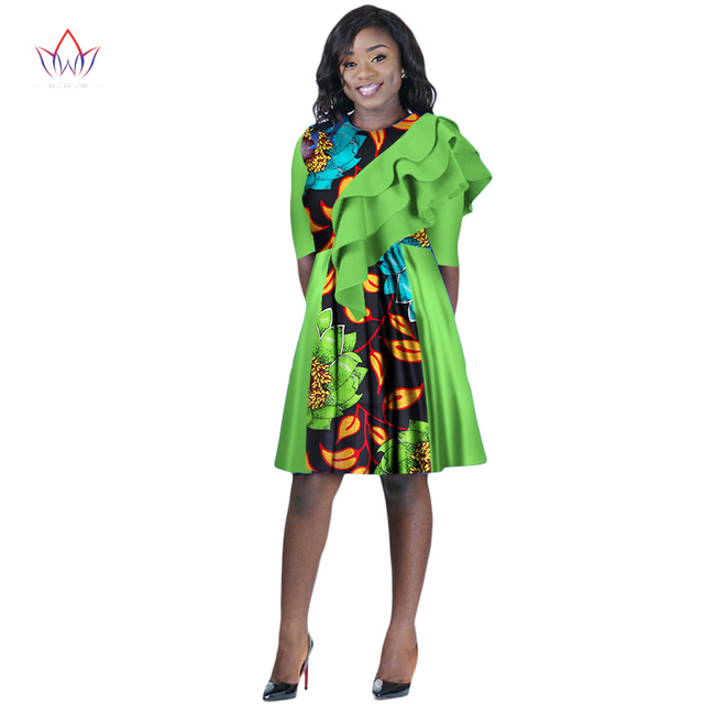2018 Africa Dress For Women African Wax Print Dresses Dashiki Plus Size  Africa Style Clothing for Women Office Dress WY2202 cfaa7665d27f
