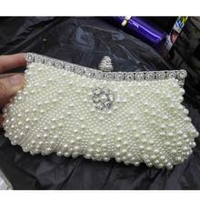 Weiß abendtasche schwarz Cocktail bankett tasche perle kristall perlen Kupplung hochzeit geldbörse Damen handtaschen x63