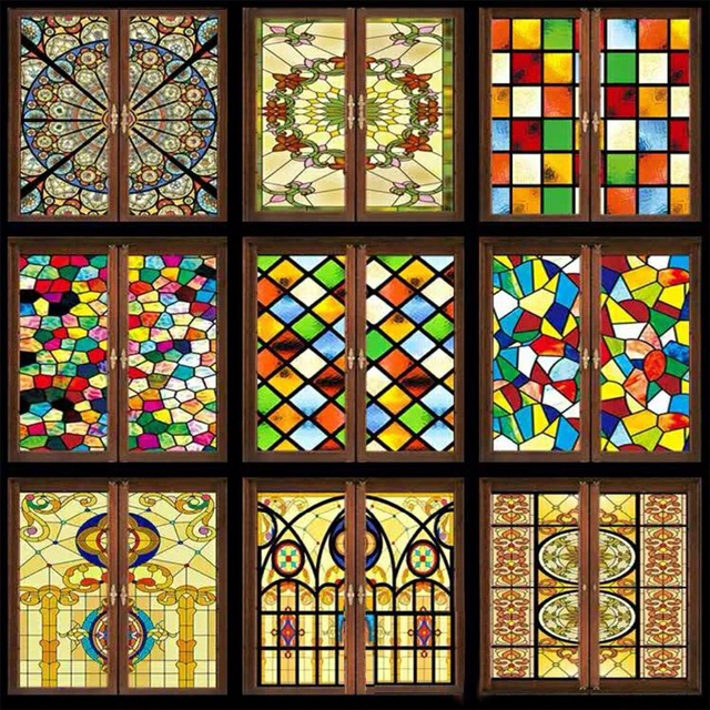 Decorative Stained Glass Windows Film Custom Wardrobe Doors Church