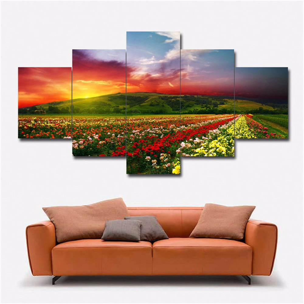 5 Panels Waterproof Canvas Painting Sunset Field Landscape HD Print Home Wall Hanging Art Oil Prints Pictures Modular Poster