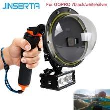 JINSERTA 2020 Dome Port su geçirmez kılıf için GoPro Hereo 7 siyah/beyaz/gümüş dalış lens kapağı w/tabanca tetik GoPro 6 5