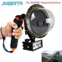 JINSERTA 2020 dôme Port étui étanche pour GoPro Hereo 7 noir/blanc/argent plongée lentille couverture avec pistolet déclencheur pour GoPro 6 5