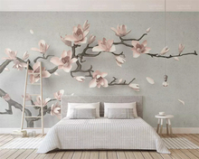 beibehang Custom 2019 three-dimensional embossed magnolia tree branch new Chinese TV background papel de parede 3d wallpaper