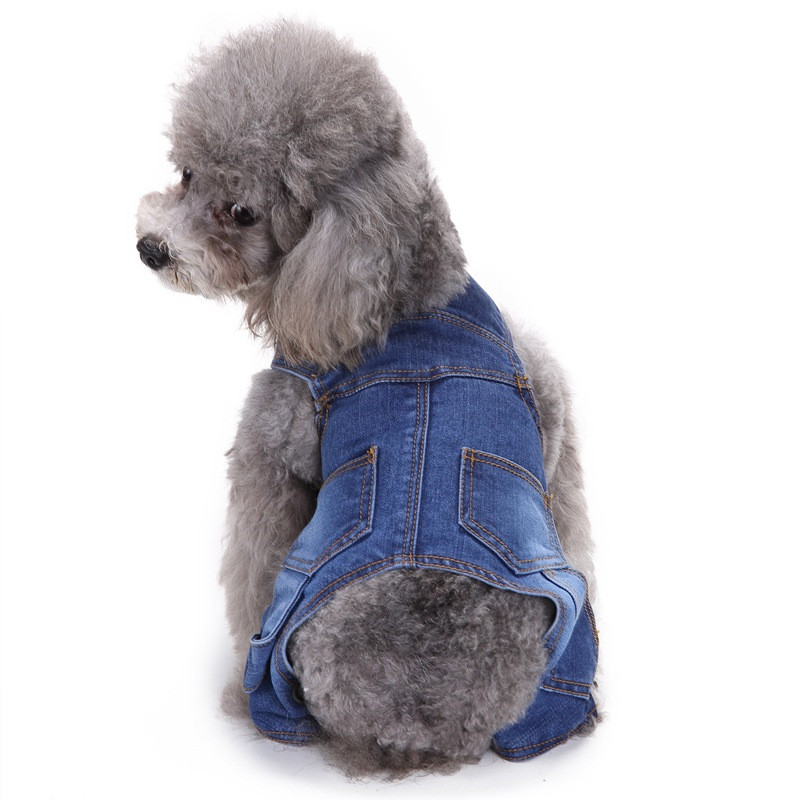 Nueva moda para mascotas perro Otoño e Invierno Jean cuatro patas Mamelucos para pequeñas y medianas perros alimentos para mascotas (azul)